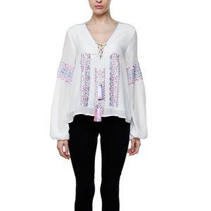 ROCOCO SAND PALOMA Silk Tassel Embroidered Top